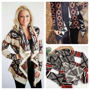 Knox Rose Aztec Long Sleeve Knit Cardigan Size M